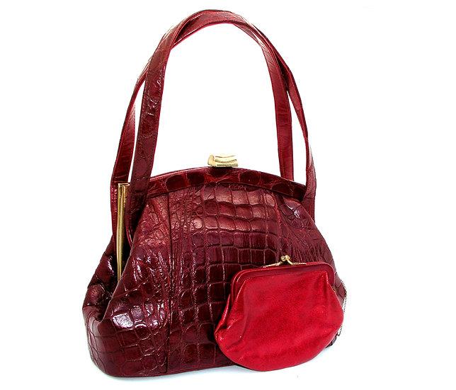MANON Vintage Alligator Bag Double Straps Leather