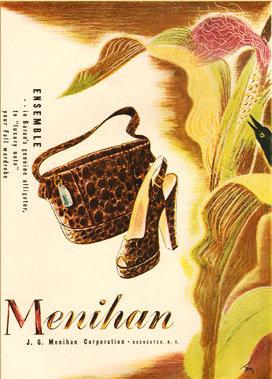 Menihan Alligator Purse Ad 1946 Print AP-043
