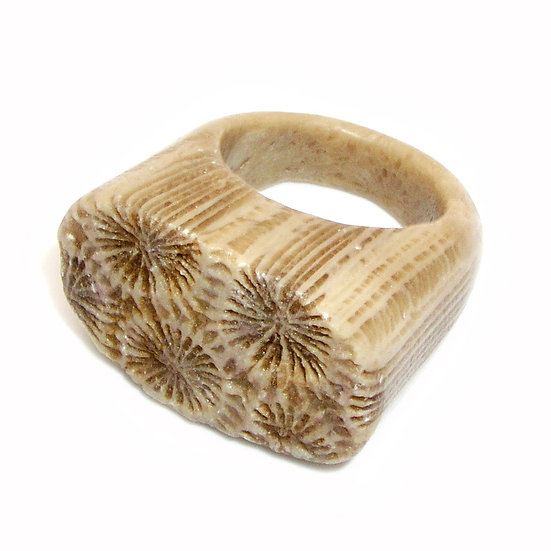 Fossil Coral Unisex Ring sz 10 GR-009