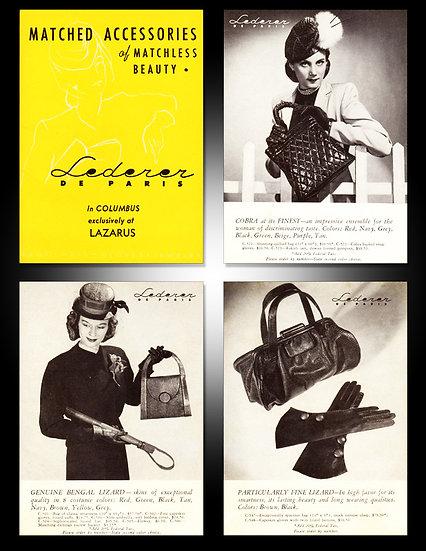 Lederer de Paris Handbags 1943 Ad Print FA-010