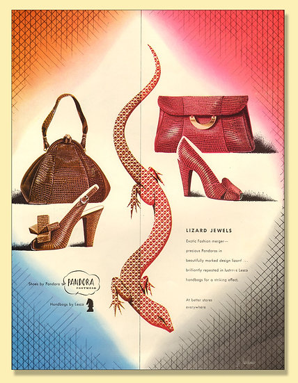 Chandler's Cobra Bags Ad Vogue 1946 Print AP-029