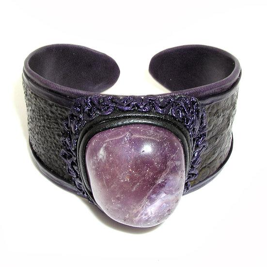 AMETHYST Artisan Ostrich Leather Bracelet LB-007