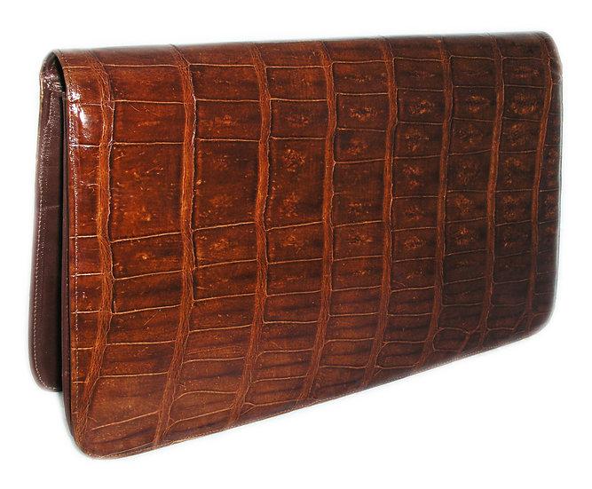 VINTAGE Crocodile Caiman Clutch Leather    VEB-010