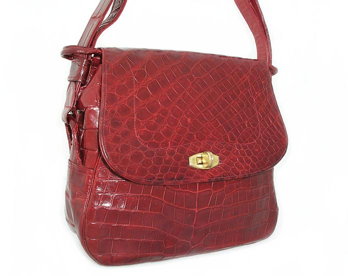 PRADO Vintage Ruby Crocodile Shoulder Bag VDB-029