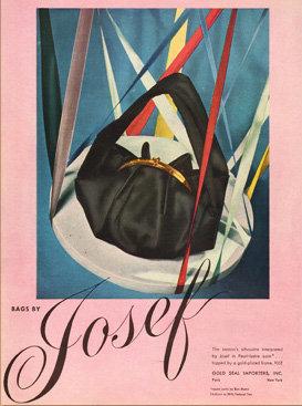 Josef Purse Ad Vogue 1943 Fashion Print AP-044
