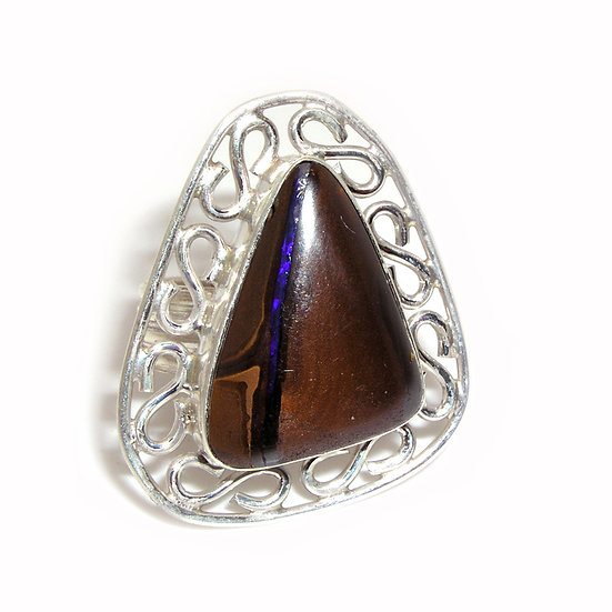 Boulder Opal Gem Artisan Silver Ring CR-011