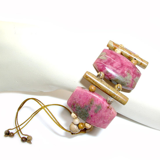 Rhodonite Gem Artisan Beaded Silk Bracelet GSB-003