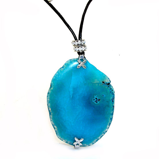 Agate Necklace Leather Sterling GN-007