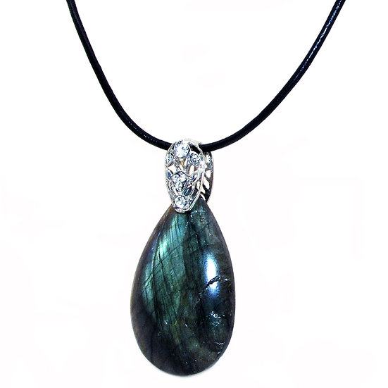 Labradorite Necklace Leather GN-008