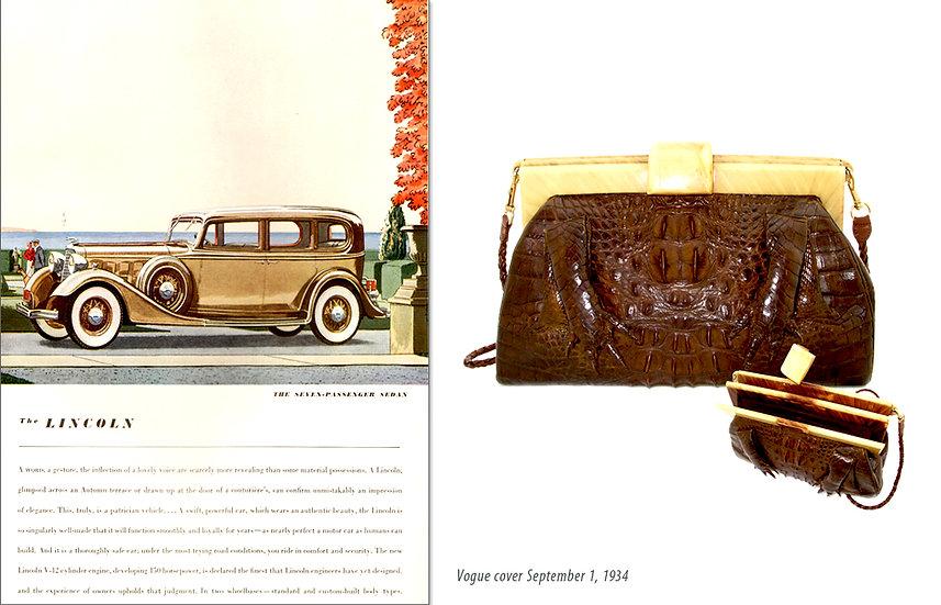 Vogue 1934 Ad Hornback Bakelite Bag Print P-024