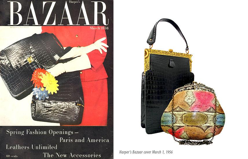 Koret Alligator Bag Harper Bazaar 1956 Print P-010