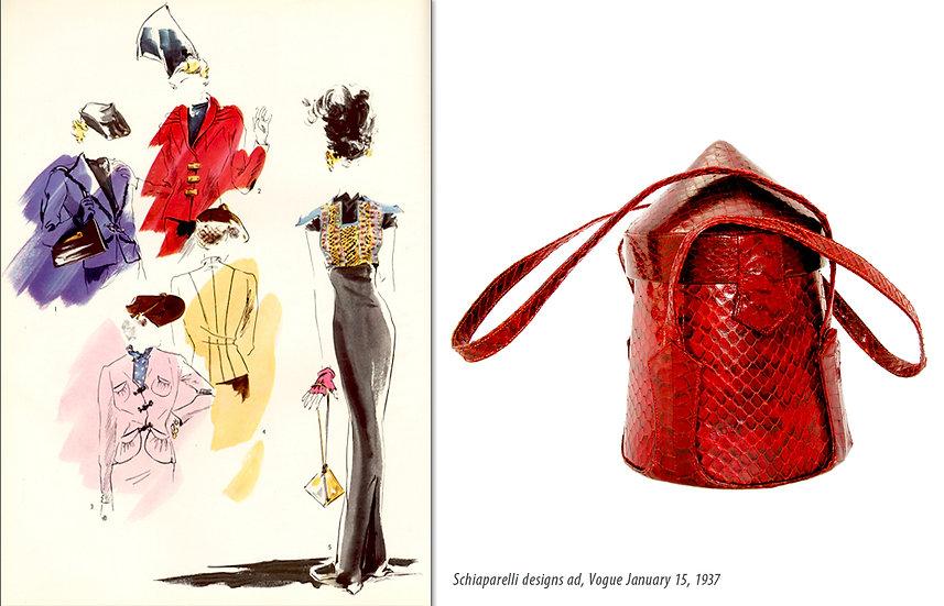 Schiaparelli Vogue 1937 Ad Snake Purse Print P-028