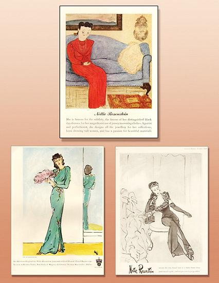 Nettie Rosenstein 1940s Fashion Ad Print FA-017
