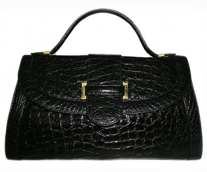 SFA Large Vintage Crocodile Flap Bag Italy CB-003