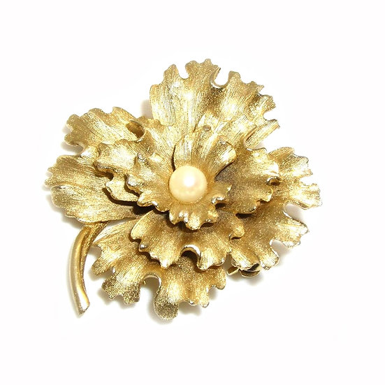 Pearl Flower Gold Plated Pin