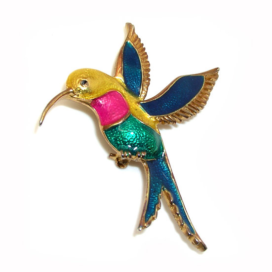 HUMMINGBIRD Retro  Enameled Rhinestone Pin VJ-008