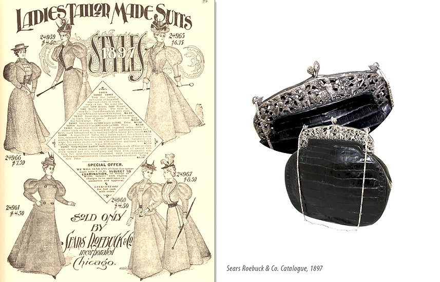 Victorian 1897 Ad Alligator Opera Bag Print P-043