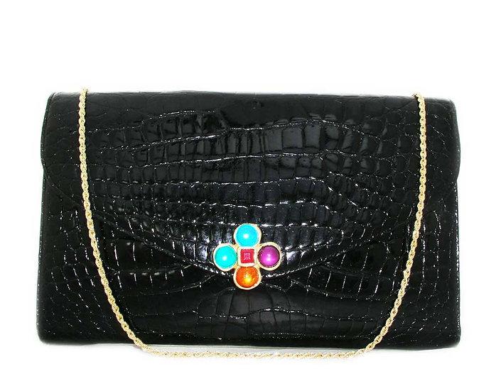 JEWELED Crocodile Clutch Shoulder Bag      VEB-007