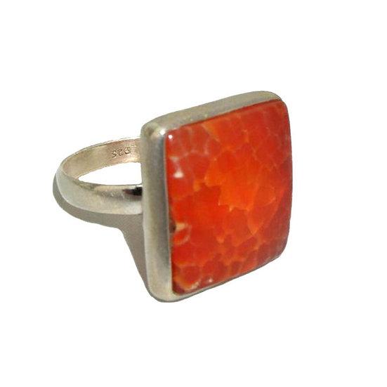 Agate Gemstone Silver Ring CR-006