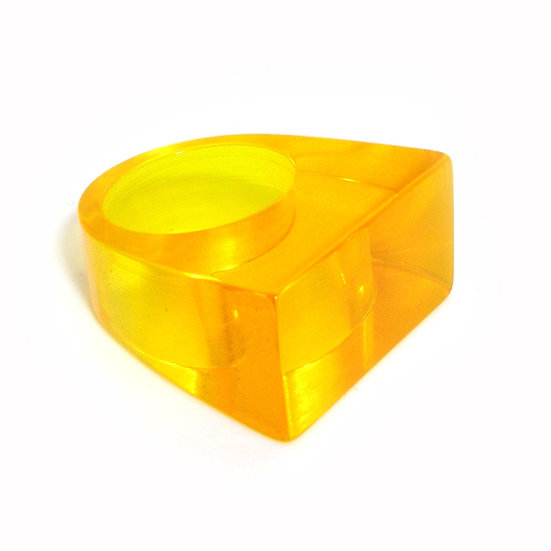 Yellow Rectangle Lucite Ring LR-001