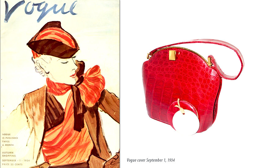 1934 Vogue Fashion Ad Alligator Purse Print P-021
