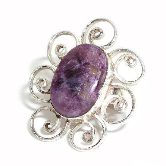 Charoite Gem Silver Ring CR-015