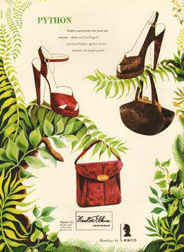 Lesco Python Bag Shoe Bazaar Ad 1948 Print AP-042
