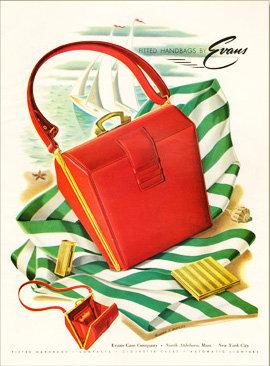 Evans Purse Ad Harper's Bazaar 1947 Print AP-041