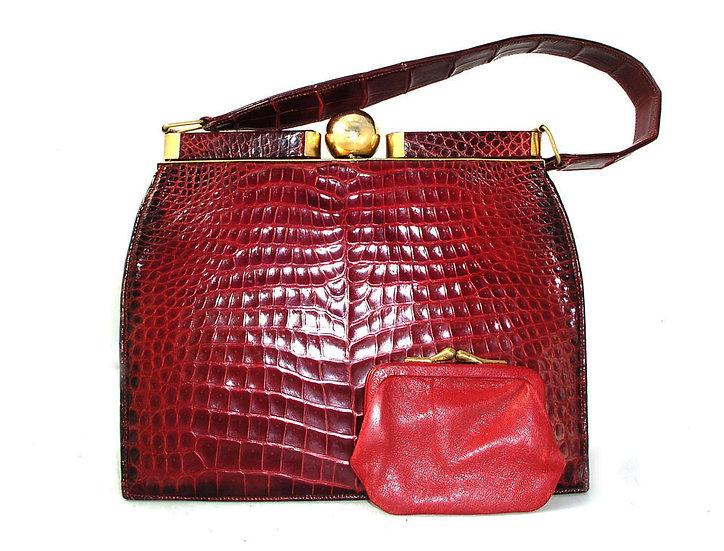 PRADO Vintage Alligator Frame Bag Ruby VDB-044