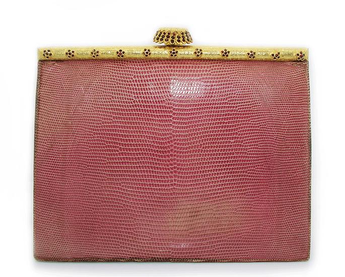 MONDAINE Vintage Jeweled Lizard Clutch     VEB-006