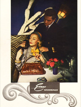 Evans Alligator Purse Ad 1947 Print AP-054