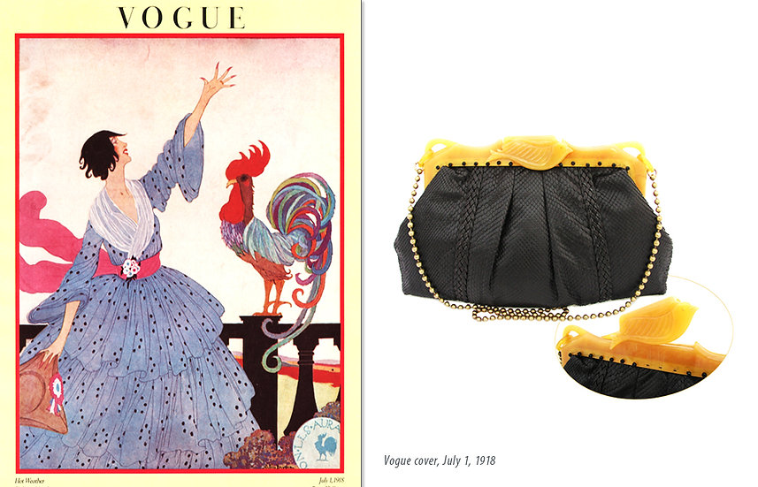 Vogue 1918 Ad Bakelite Snake Bag Print P-033