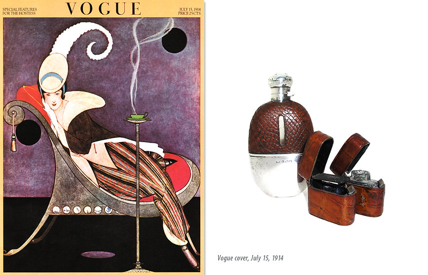 Vogue 1914 Silver Crocodile Flask Print P-036
