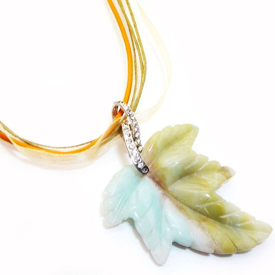 AMAZONITE Gem Artisan Necklace Leather GN-011