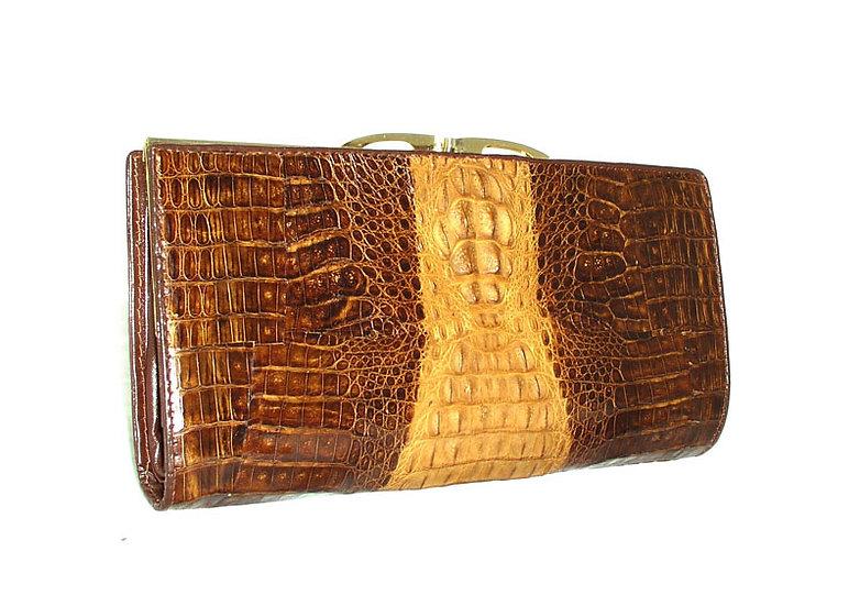 Vintage Crocodile Caiman Clutch Wallet TWO TONE