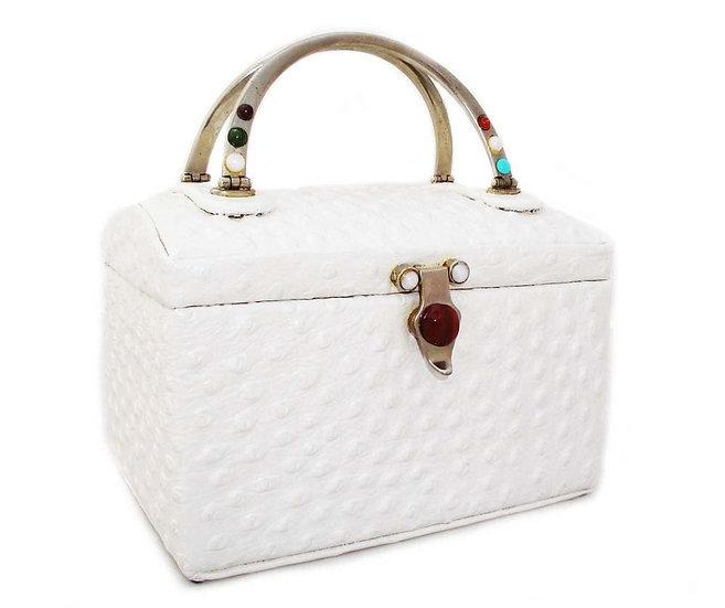 ROSENFELD Vintage Ostrich Box Purse Gemstones