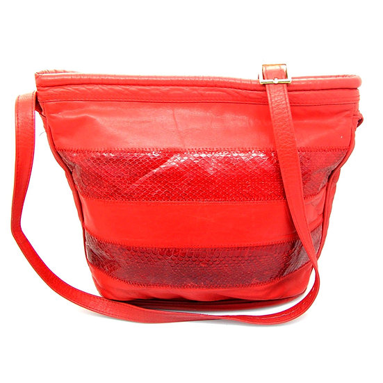 RONAY Vintage Snakeskin Leather Bucket Bag VEB-033