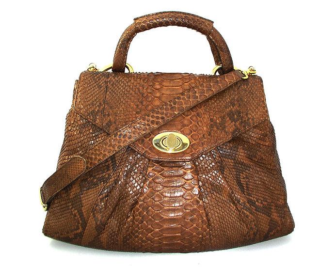 LARGE Vintage Python Flap Handbag Suede Strap