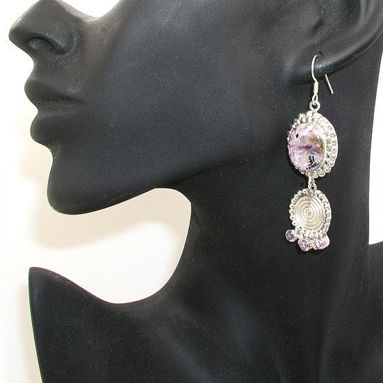 Charoite Amethyst Earrings GE-006