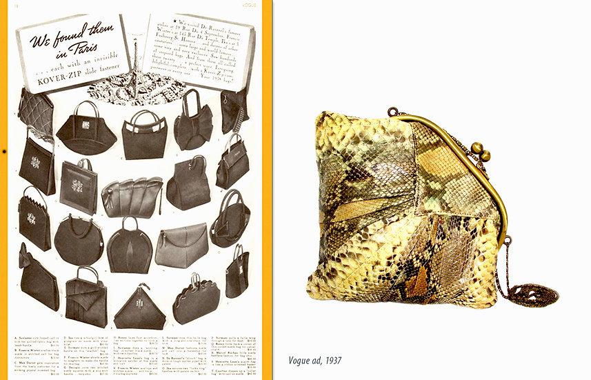 Vogue 1937 Handbag Ad Snakeskin Bag Print P-038