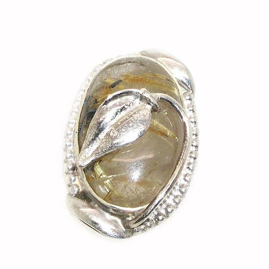 Quartz Silver Ring Rutilated sz 8