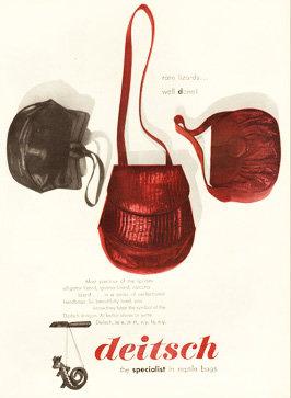Deistch Lizard Bags Bazaar Ad 1944 Print AP-039