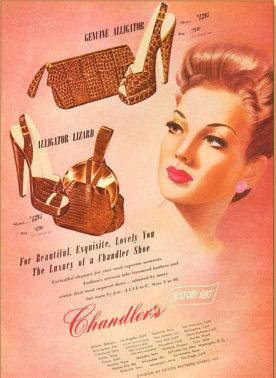 Chandler's Alligator Purses Vogue Ad 1946 Print