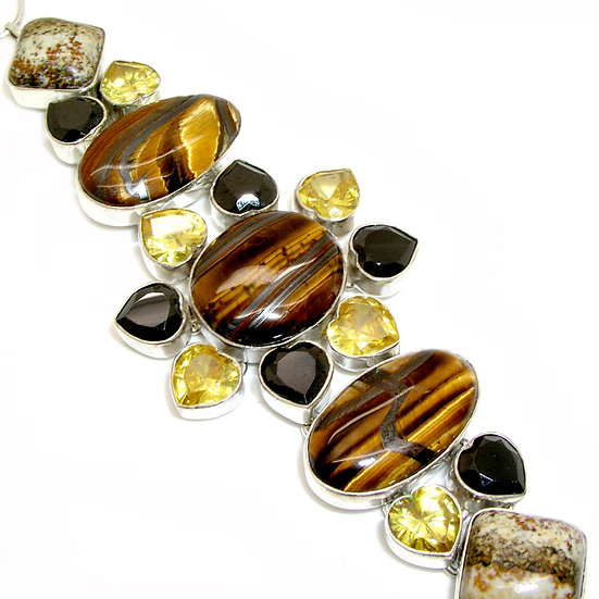 TIGEREYE Artisan Silver Gem Bracelet Onyx GB-007