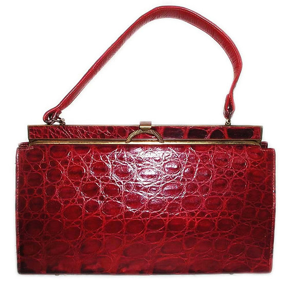 VASSAR Vintage Alligator Frame Bag Handbag CB-022