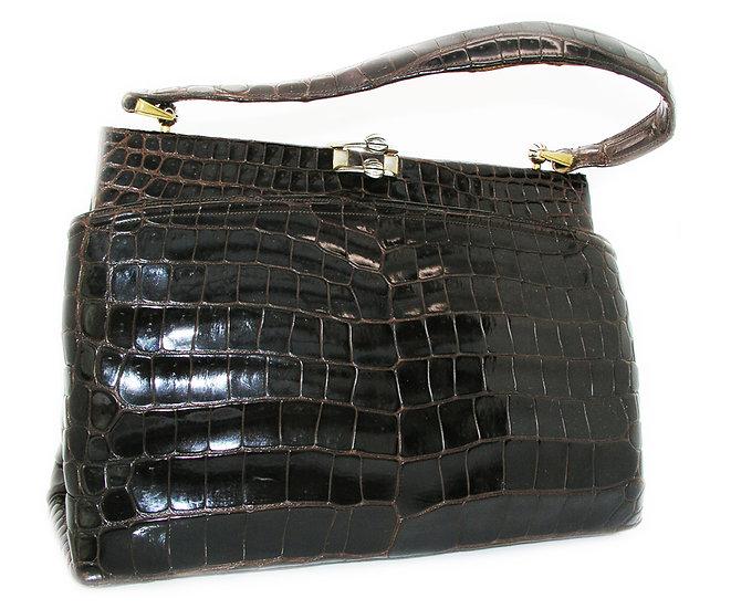 GUCCI Vintage Crocodile Bag Rare Italy CB-008