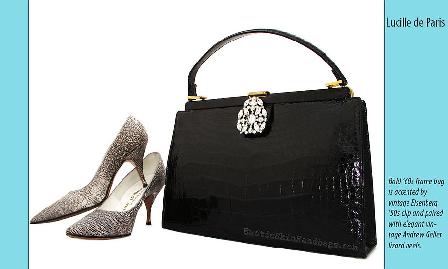 Lucille de Paris Black Crocodile Bag Print P-002