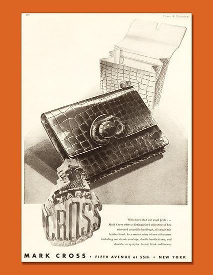 Mark Cross Alligator Purse Ad 1946 Print AP-026