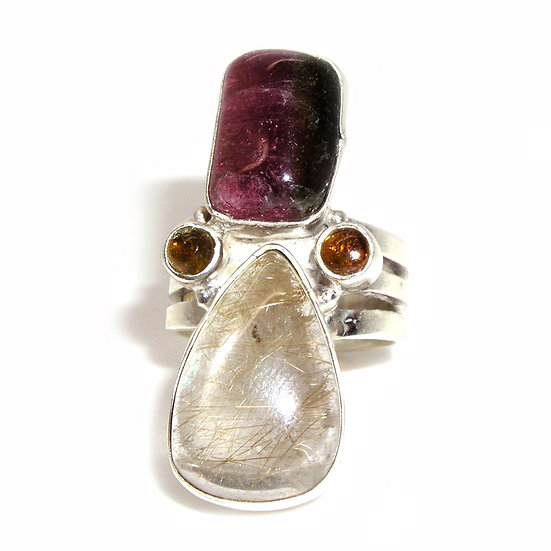 Tourmaline Quartz Silver Ring CR-010