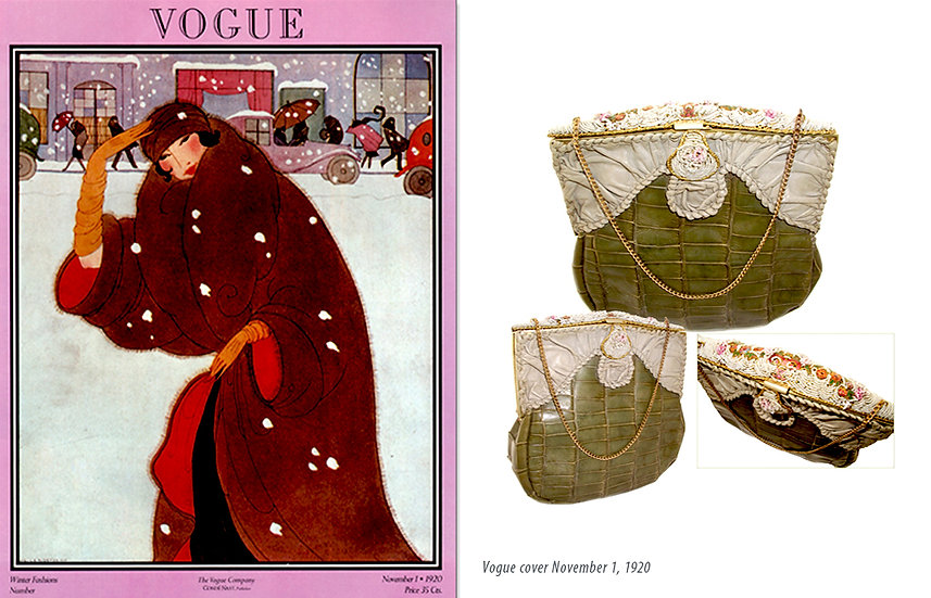 Vogue 1920 Beaded Alligator Opera Bag Print P-029